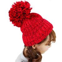 sombreros de la gorra de la bola superior al por mayor-Wholesale-Fashion Winter Beanie Hat Mixed Color Top Ball Warm Beanies Lady Girl Sombreros de punto para mujer / hombre Cap Wholesale