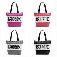 Wholesale Function High - Pink Letter Handbag Large Capacity Shoulder Bag Waterproof Beach Bags For Travel Storage Handbags High Quality YYA779