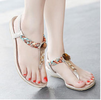 Plus Size 35 To 40 41 Bohemian Mulheres Flat Heel Crystal Rhinestone Sandálias Flip Flop Beach Shoes 4 cores