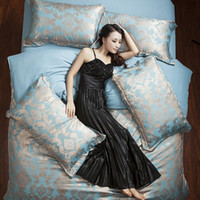 Wholesale Tencel Duvet - Home textile New Classic Luxury Embroidery Tencel Satin Silk Duvet cover bed sheet pillowcase 4Pcs Bedding Set king queen size 1-13 choose