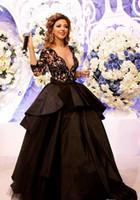 Wholesale Nice Celebrity White Dresses - Celebrity Dress Myriam Fares Sash Front   Side Slit Black Nice Ball Gown V Neck Lace Floor Straight Custome Evening dresses