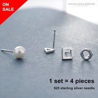 On Sale 925 Sterling Silver Needle Estilo Simples Simulado Pearl Square Round Triangle Set Stud Earrings Atacado Allergy Free