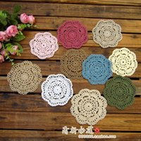 Wholesale Round Felt Placemat - Free shipping 50pic lot 10cm round lace flowers felt for dinning table pot holder doilies coaster cotton pad placemat coaster