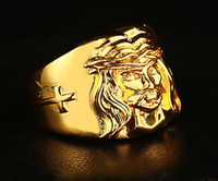 Wholesale 18k Yellow Gold Cross - High quality HIP HOP ring Men's Cross Jesus Ring 24K GP Yellow Gold Ring for Men Size 7, 8,9 10,11