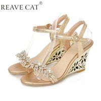 Wholesale T Strap Gold Glitter Heels - Wholesale-2015 New arrival Glittering Fashion Fretwork Heels Wedges sandals Rhinestone Silver Gold Summer sandals for party