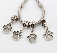 Vendas quentes! 200pcs Antique Silver Tone Paw Print Dangle Beads Fit Charm Bracelets DIY Jóias 12x27mm