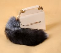 Wholesale Woman Using Toy Man - fur silver fox tail fur accessories luggage luggage accessories fox fur tail Keychain cosplay toy Special Use Novelty Acc