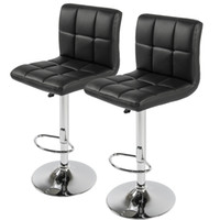 Wholesale Counter Stools - Set of 2 PU Leather Adjustable Bar Stools Counter Swivel Barstool Pub black