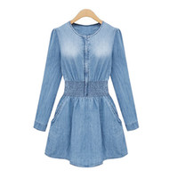 Wholesale Peplum Xxl - 2015 Autumn Women Homecoming Dresses Denim O-neck Long Sleeve Street Style Short Dress M-XXL For Party Evening Free Drop Shipping