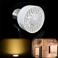 Wholesale ir light bulbs - LED Motion Sensor Light Bulb 3W 54LED E27 PIR Infrared IR Motion Sensor White Warm White Light Bulb 340LM Motion Sensor Light Bulb