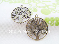 Wholesale Antique Bronze Filigree Charm Findings - 500pcs Antique bronze Antique Silver tone Large Hollow out Filigree Tree of Life Connector Pendant Charm Finding,DIY Accessory