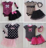 Wholesale Gauze Short Skirt - 2015 Summer Baby Girl Sets Polka Dot Short Sleeve Romper Tiered Gauze Skirt Headbands 2Pcs Baby Sets 0-24M m002