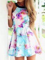 Wholesale Sleeveless Skater Dress - 2017 Women Summer Style Dress Vestidos Floral Sleeveless Mini A Line Backless Casual Skater Dress