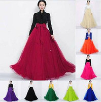 Wholesale Polyester Wedding Gown For Sale - 2016 Hot Sale Women Ladies Female Long Tulle Gauze Skirts High-waisted skirt Elegant Prom Party Wedding Elastic Waist Long Skirts for women