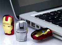 Wholesale Iron Man Drive 32gb - 32GB 16GB LED Iron Man Head USB 2.0 USB Flash Drive Pen Grade A Drives Memory stick for iOS Windows Android