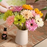 Wholesale Artificial Pink Gerbera - 8pcs lot gerbera real touch silk Artificial Flowers for Decoration home Decorative Flower decor flor wholesale freeshipping G279