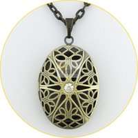 Wholesale Filigree Diamond - 2015 hot antique bronze brushed vintage copper oval shape Necklaces hollow filigree locket pendant necklace prayer jewelry