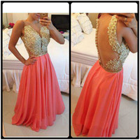 Wholesale Good Quality Prom Dresses - 2015 Good Quality Sheer V Neck Lace Prom Dresses Sexy See Through Covered Button Back A Line Long Chiffon Pearls Evening Party Gowns