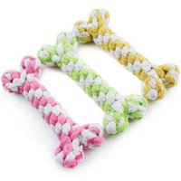 Wholesale Dog Teeth Bones - Pet Cotton Rope Braided Bone 15CM Safe And Non-toxi Clean Teeth Toys Mouse Knot Striped Hand-woven Cotton Rope Toys Dog Toys Wholesale LDH51
