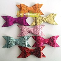 Wholesale Glitter Clips - SALE! Fashion Hair bows Baby Glitter Bows Barrettes Headband Hair clip Hair Accessories 13 color 60 PCS