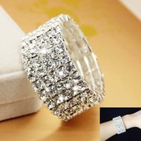 Wholesale Bridal Presents - New Design Cheap Women Rhinestone Birthday Gift Silver Bridal Wedding Accessories Bracelet Crystal Bridal Jewelry Valentine's Day Present