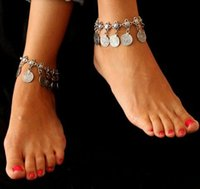 Wholesale Silver Cuff Ankle Bracelets - Wholesale-Gypsy Antique Silver Turkish Coin Anklet Ankle Bracelet Beach Foot Jewelry Ethnic Tribal Festival 1Pc M2104