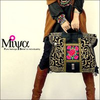 Wholesale Ethnic Bags - Wholesale-Original Design Thai Style Miya Embroidery Handbags Ethnic Embroidered Tote Shoulder Bags Boho Bag