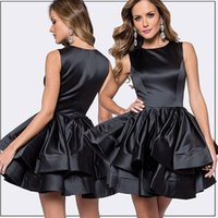 Wholesale Cheap Little Girls Bridesmaid Dresses - Above Knee Length Short Prom Dressess Jewel Neck Sleeveless Satin A Line Girls Homecoming Party Gowns 2016 Cheap Bridesmaid Formal Wear