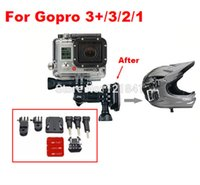 Wholesale Adhesive Mount For Gopro - Gopro Accessories Helmet shooting suit+helmet Curved Adhesive Side Mount+Three-way Adjustable Pivot Arm Mount for GoPro 3 21