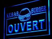 Wholesale Ouvert Led - Wholesale-i868-b Ouvert Kebab Burger Enseigne Lumineuse LED Neon Sign Wholesale Dropshipping