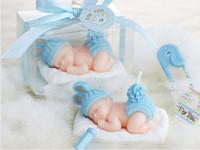 boîtes de mariage pour bougies achat en gros de-10 pcs rose / bleu bébé bougie pour la fête de mariage souvenirs d'anniversaire cadeaux faveur chaude emballé avec boîte