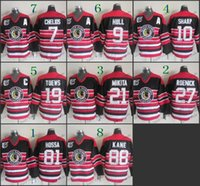 Wholesale Cheap Nhl Patches - 75 Anniversary Patch Chicago Blackhawks #7 Chris Chelios NHL Vintage CCM Throwback Retro Ice Hockey Jerseys Black Red White Striped Cheap