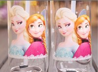 Wholesale Straw Suction - Big discount 10pcs Children Cup Cartoon Frozen Elsa Anna PP Texture Suction Cup with drinking straw water bottle 60pcs