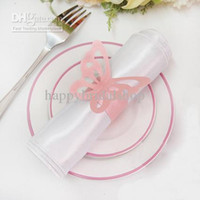 Wholesale bridal shower napkins - Free Shipping-100pcs Pink Color Vintage Style Paper Butterfly Napkin Rings Wedding Bridal Shower Napkin holder