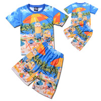 Wholesale Wholesale Minion T Shirts - PrettyBaby Wholesale summer boy minions beach shorts despicable me T shirts tops tees+ shorts kid minions swimsuit bathing suit 80set lot
