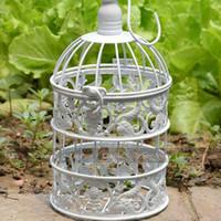 pájaros jaulas de pájaros al por mayor-Envío gratis blanco clásico jaulas de pájaros decorativos pequeña jaula de pájaro de la boda el jaula de hierro XS tamaño 2 unids / lote