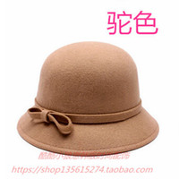 Wholesale vintage basin - Wholesale-Korean winter pure wool it basin cap, fisherman hat Vintage felt hat bowler hat female bow Woman's hat