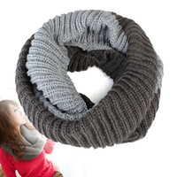 Wholesale Circle Wool - 10Pcs Lot New Fashion Autumn Winter Infinity Scarf Women Warm Winter Knit Neck Circle Wool Cowl Snood Long Scarves Shawl Wrap 120*28cm