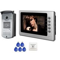 cámara de video sin cables al por mayor-Envío gratis a estrenar cableado de 7 pulgadas de Color Video de la puerta del teléfono sistema de timbre de intercomunicación 1 Monitor 1 cámara de acceso RFID HD en Stock