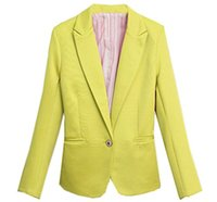 Wholesale Womens Fashion Color Blazer - XQS Womens Blazer Fashion Long Sleeve Slim Fit Office Suits Coats