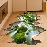 3D Stream Floor / Wall Stickers Съемная роспись Decal Vinyl Art Гостиная Домашний декор akes It Look Real и Fresh Nature Decor