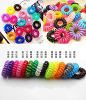 Wholesale Hair Tie Elastic Scrunchies - Wholesale 100pcs lot Telephone Cord Elastic Ponytail Holders Hair Ring Scrunchies For Girl Rubber Band Tie Free Shipping C155