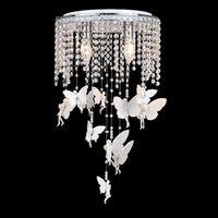 bebek tavan toptan satış-Beyaz Kristal Melek Kız Odası Tavan Lambaları Romantik Çocuk Yatak Odası Bebek Odası Tavan Işık Fikstür Reçine