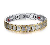 Wholesale Germanium Color - New style stainless steel magnetic Bracelet with magnetic hematite bead & Germanium granule man style bracelet gold color