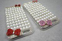 Wholesale Pearl Bow Phone Cases - Cell phone case pearl Diamond Bow Glitter Rhinestone Crystal Bling Bling Iphone6 6 Plus Cases Environmental Produce DHL shipping