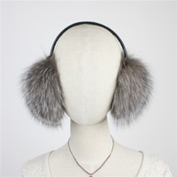 Wholesale leather earmuffs for sale - Group buy LIYAFUR New Women s Real Genuine Silver Fox Fur Winter Warm Earmuffs Covered With Real Sheepskin Leather