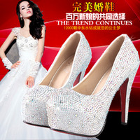 bombas de brillo rojo al por mayor-¡Envío gratis! Joyas de perforación caliente oro blanco plata azul marino rosa 8-14cm talones zapatos de novia zapatos de fiesta S730002