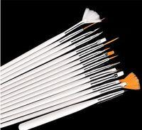 Wholesale 15 Pc Nail Art Brushes - 1000 sets 15 Pcs Set Nail Art Design acrylic brush UV Gel Set Painting Draw Dotting Pen white Hand