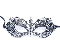 Wholesale luxury woman mask online - Luxury Women s Laser Cut Thin Metal Venetian Pretty Beauty Masquerade Bauta Mask Princess Prom Party Black With Clear Crystal Light Weight