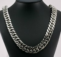 Wholesale Large Chunky Chain - New Style Cool Men Jewelry 15mm 24'' Huge Large Stainless Steel Heavy Chunky Curb Link Necklace Chain for xmas   holiday Gifts